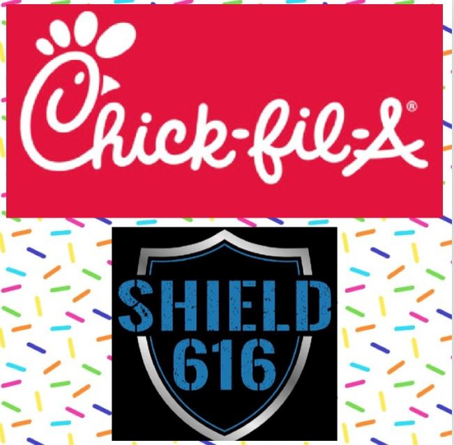 Chick-fil-a logo and Shield 616 logo for fundraiser