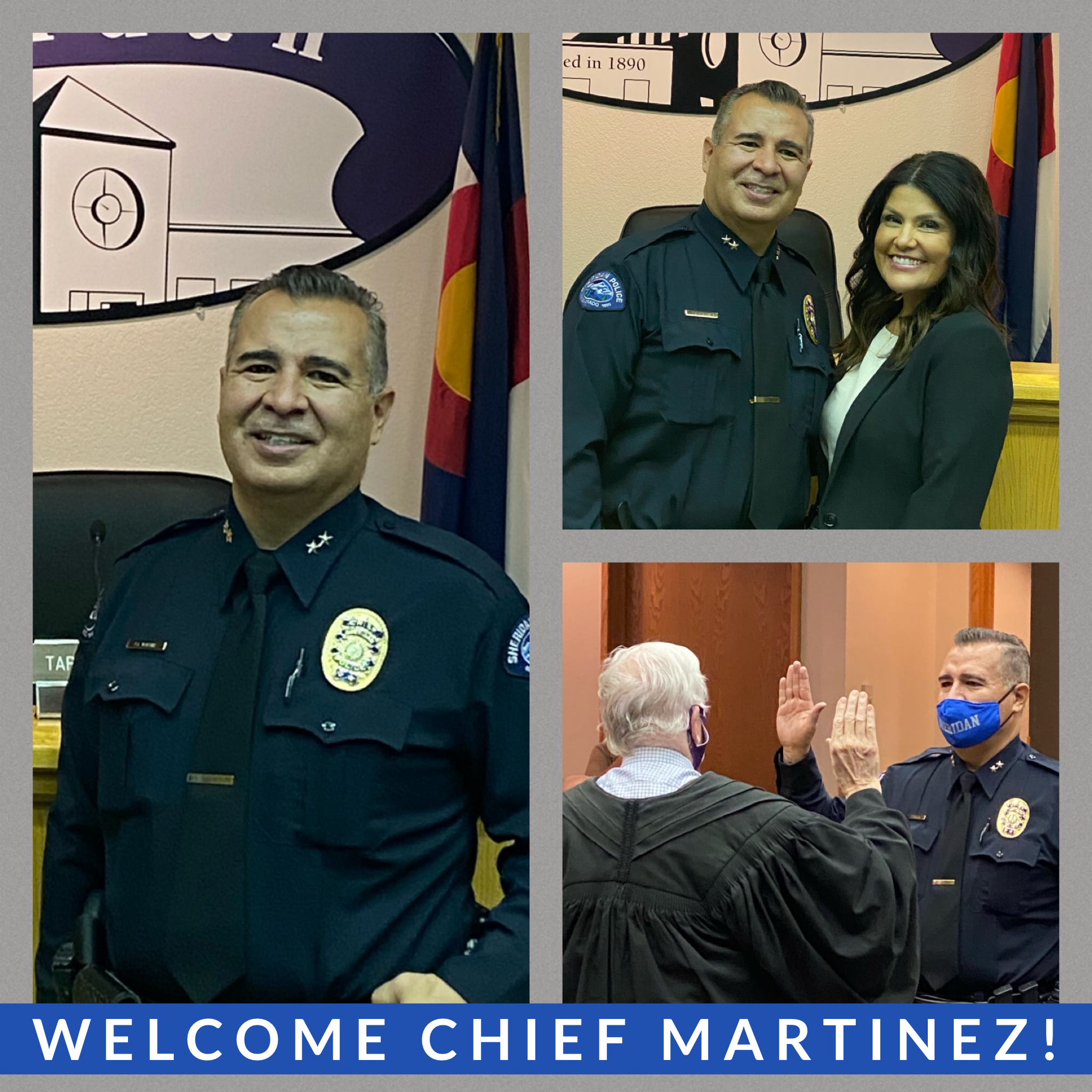 Collage picture of the new Police Chief Jeff Martinez.